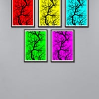 Set 5 the price of one Colored Tree Print,  Red, yellow, green, mint, pink Print Scandinavian Tree, Colored Art Download, Nordic Decor *88*