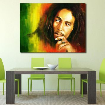 JQHYART Wall Pictures for Living Room Bob Marley Portrait Oil Painting Canvas Print Home Decor Bedroom Posters and Prints