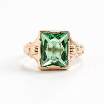 Vintage 10k Rose Gold Simulated Peridot Ring - Size 6 1/2 Art Deco 1930s Hallmarked OB Ostby Barton Titanic Fine Green Glass Jewelry