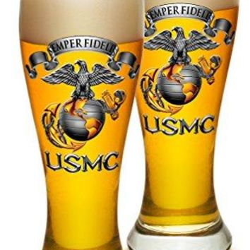 Pilsner – US Marine Corps Gifts for Men or Women – USMC Semper Fidelis Beer Glassware – USMC Barware Glasses Set of 2 (23 Oz)