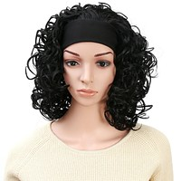 Women's Fashion 3/4 Full Head Curly Hair Wig With Headband