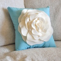 Pillows, Throw Pillow, Ivory Rose on Bright Robins Egg Blue 14x14