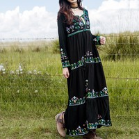 Black embroidery women dress Long Sleeve boho chic Dress style maxi dresses Vestidos V-neck cotton women clothing
