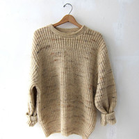 vintage natural cream brown sweater. oversized sweater.