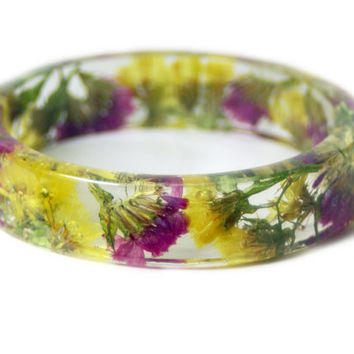 Real Flower Bracelet- Flower Jewelry- Yellow Bracelet- Pink Jewelry -Resin Jewelry Dried Flowers- Resin Bangle