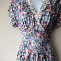 90s Does 40s Floral Dress // Powdery Blue & Pink, Back Button, Lace Trim // Romantic Retro, Mori Kei, Grunge Princess Dress!