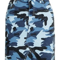 Stella Blue Camo Print Micro Mini Denim Skirt | Boohoo