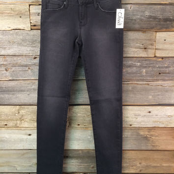 MID RISE SKINNY - WASHED BLACK