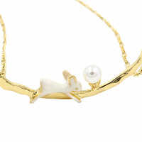 Golden Rabbit and Pearl Bar Pendant Necklace