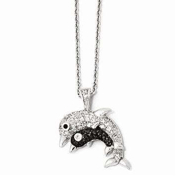 "Sterling Silver CZ & Rhodium Dolphins 18"" Necklace"