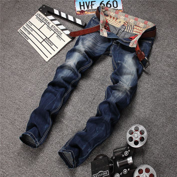Men Cats Korean Slim Denim Pants Jeans [6541755203]