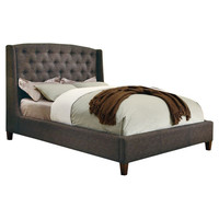 Queen size Upholstered Bed with Button Tufted Headboard in Charcoal