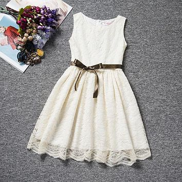 Cool Summer Solid Bow Toddler Girl Lace Dress With Blet For 4 to 10 Years Old Kids Birthday Chlidren Clothes Party Dresses