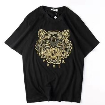 KENZO 2019 new embroidered golden tiger head men and women casual loose round neck T-shirt Black