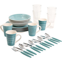 Walmart: Gibson Home Fresh Swirls 28-Piece Combo Set, Blue