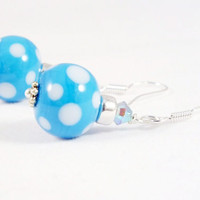 Light Blue Polka Dot Artisan Lampwork Earrings,Sterling Silver Earrings, Blue & White Earrings, Swarovski Earrings
