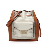 Bucket bag ladies draw with pocket leather famous