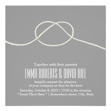 Simple Silver Twine Knot Wedding Invitations