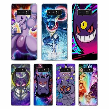 MOUGOL s Go Gengar Sinister Nebula Pattern Clear hard Phone Case Cover for Samsung Note8 Note5 S8 S8Plus S6 S7 edge S5Kawaii Pokemon go  AT_89_9