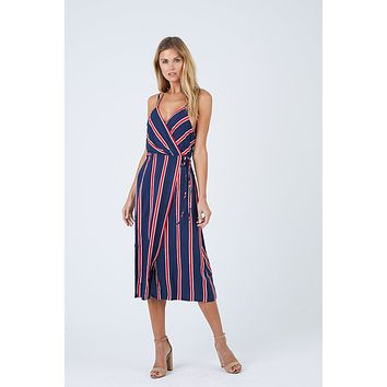 Nautica Midi Dress - Navy & Red Stripes