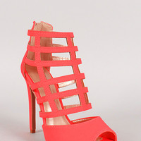 Qupid Neon Nubuck Zipper Caged Open Toe Heel
