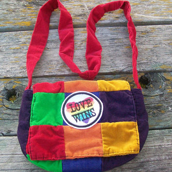 Rainbow Love Wins Recycled Corduroy Crossbody Purse Red Orange Yellow Green Blue Purple