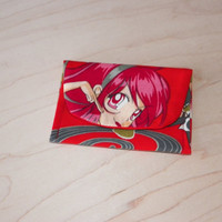 Pink Power Anime Girl Card Case Red with Flowers Swirls Bamboo
