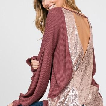 ALEXIS Sequin Crossed Open Back Top in Rose Gold