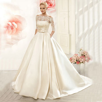 Vnaix W3099 Luxruy Ball Gown Lace Wedding Dresses 2017 Satin With Jacket See Though 3/4 Sleeves Sweep Train Bridal Wedding Gown
