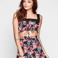 Lottie & Holly Floral Print Lace Trim Womens Tank Black Combo  In Sizes
