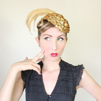 1940's Hat / VINTAGE / Gold / Sequins / Feathers / Pin Up / Show Girl / Juliet Cap / AMAZING!