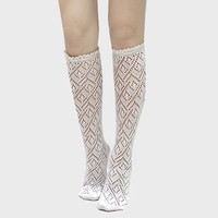 Lace Trimmed Scalloped Pointelle Knee High Socks - Ivory