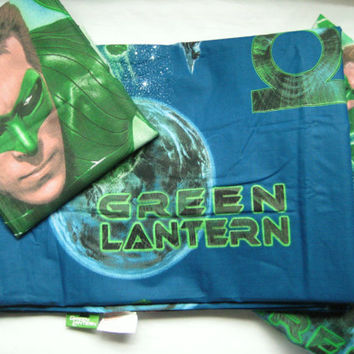 Green Lantern DC Comic Super Hero Bedding Flat Fitted Sheet Twin Size Standard Pillowcase 3 Piece Kid Boy Bed Craft Fabric Material UNUSED
