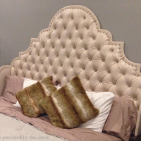 Tufted faux leather bed with wingback headboard and footboard, custom made bed, other colors and designs available.