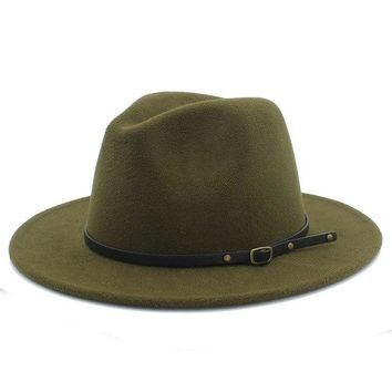 Wool Fedora Hat - Green