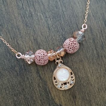 Rose Gold Aromatherapy Necklace Essential Oil Diffuser Necklace