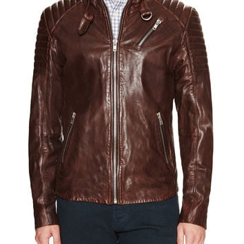 Soia & Kyo Men's Jack Leather Racer Jacket - Brown - Size XL