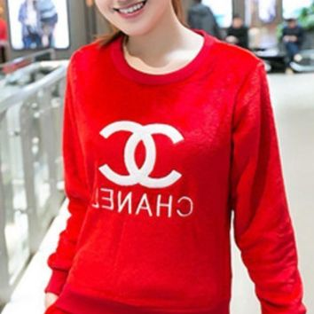 LMFUP0 Chanel Women Fashion CC Logo Print Flannel Top Sweater Pullover