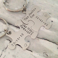 Hand stamped couples keychain, stamped puzzle pieces, couples keyrings, matching puzzle pieces, personalized- Stainless Steel