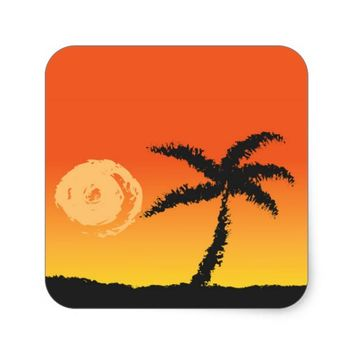 Island Sunset Square Sticker