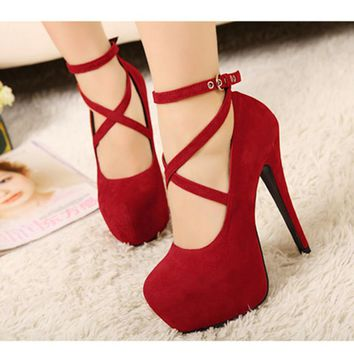 2017 NEW big size 34-42 women stiletto Gladiator Ankle Straps High Heels wedding shoes Hidden Platform women pumps bridal shoes