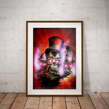 Smoking Skulls Wall Art Print