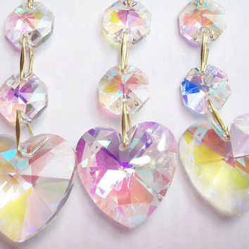 Set 3 Iridescent Chandelier Crystal Heart Ornaments Crystal AB Aurora Borealis Crystals Rainbow Crystal Prism