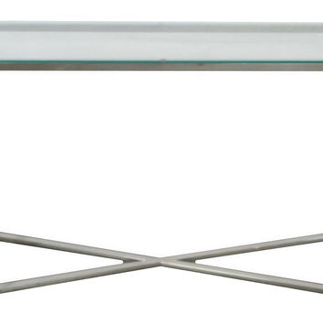 Delaney Modern Console, Silver/Glass, Console Table
