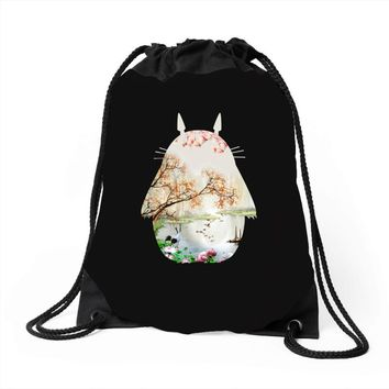 Totoro With Japanese Landscape Drawstring Bags