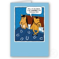 Funny birthday card: Horses in bed from Zazzle.com
