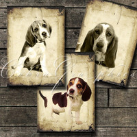 "Dogs - Digital Collage Backgrounds - 18 cards 2.5""x3.5"" - CG-502  for ATC ACEO Card Making Scrapbooking Jewelry Holders"