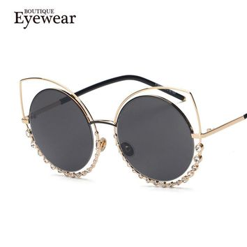BOUTIQUE NEW Metal Cat eye Sunglasses women Twin-Beams Rhinestone Frame Sunglasses H1740
