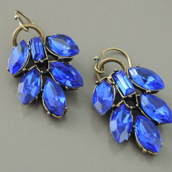 Vintage Earrings - Rhinestone Earrings  - Crystal Earrings - Sapphire Earrings - Blue Earrings - Vintage Jewelry - handmade jewelry