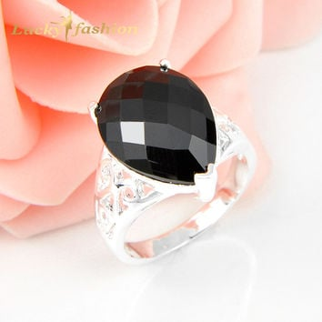 8 2Pcs 1 Lot Drop Crystal Fire Black Onyx Silver Plated Wedding Jewelry Rings Russia Rings Australia Rings